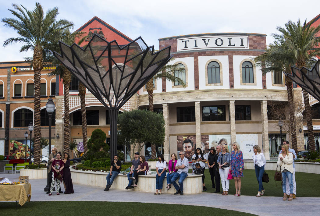 People attend the unveiling of the Sunshine Nevada donor wall at Tivoli Village in Las Vegas on ...