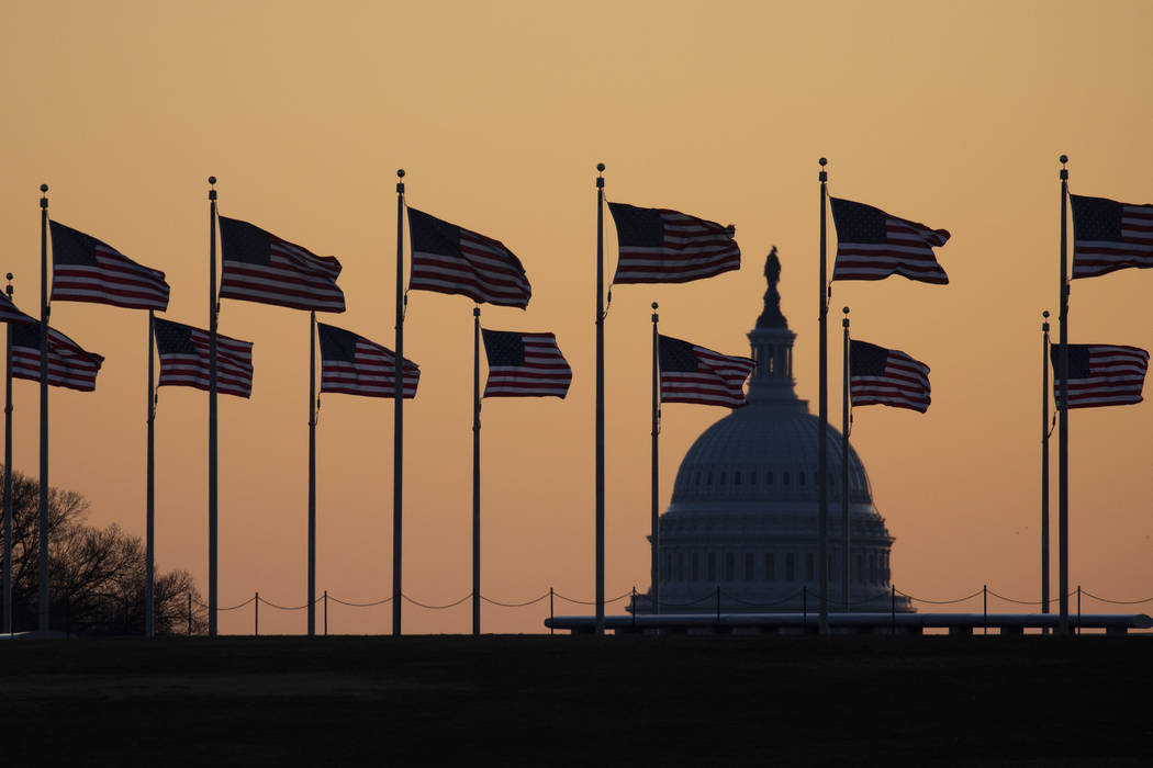 American flags blow in wind around the Washington Monument with the U.S. Capitol in the backgro ...