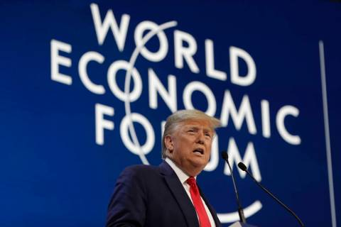 President Donald Trump delivers the opening remarks at the World Economic Forum, Tuesday, Jan. ...
