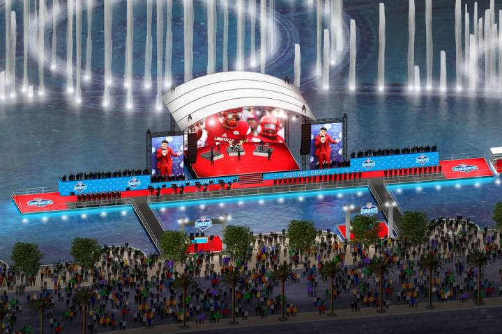 A rendering of a planned 2020 NFL Draft stage at the Bellagio Fountains in Las Vegas. (NFL)