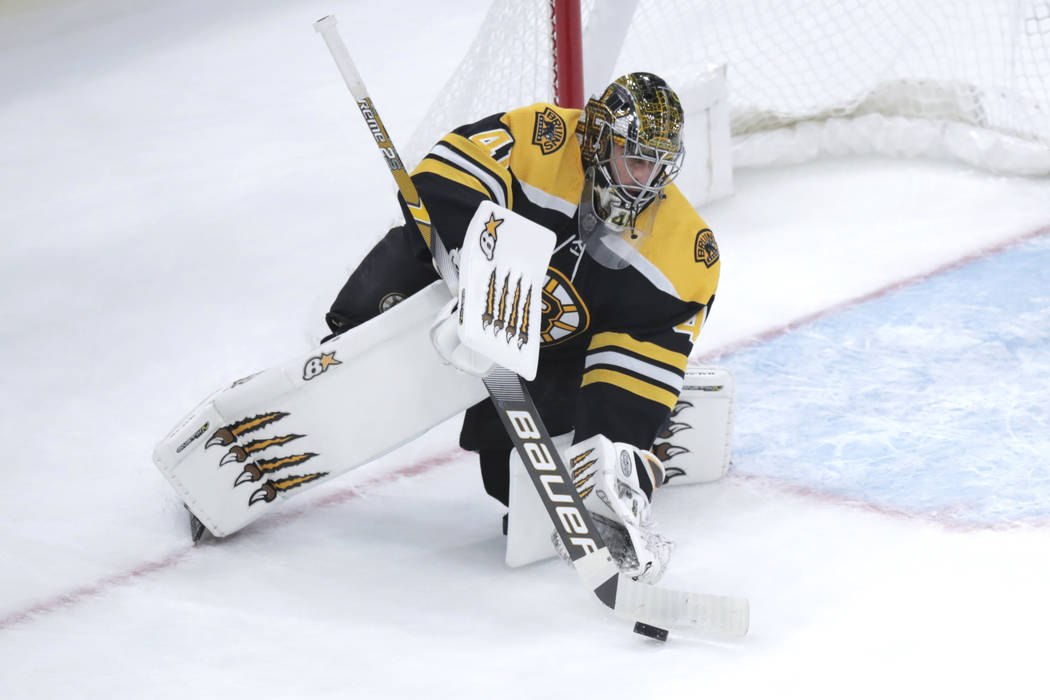Boston Bruins goaltender Jaroslav Halak (41) makes a save during the first period of an NHL hoc ...