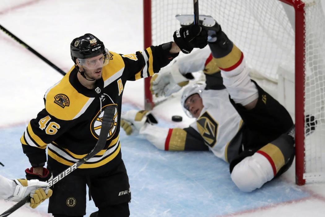 Boston Bruins center David Krejci (46) celebrates after scoring on Vegas Golden Knights defense ...