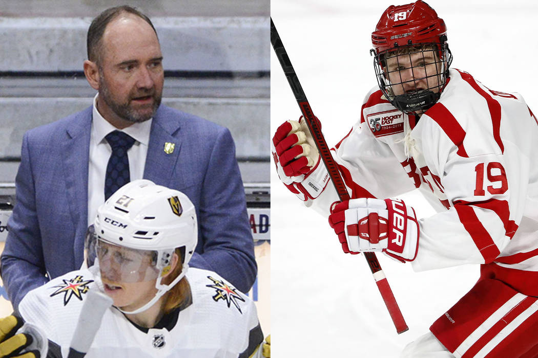 Vegas Golden Knights new head coach Peter DeBoer, left, and his son Boston University forward ...