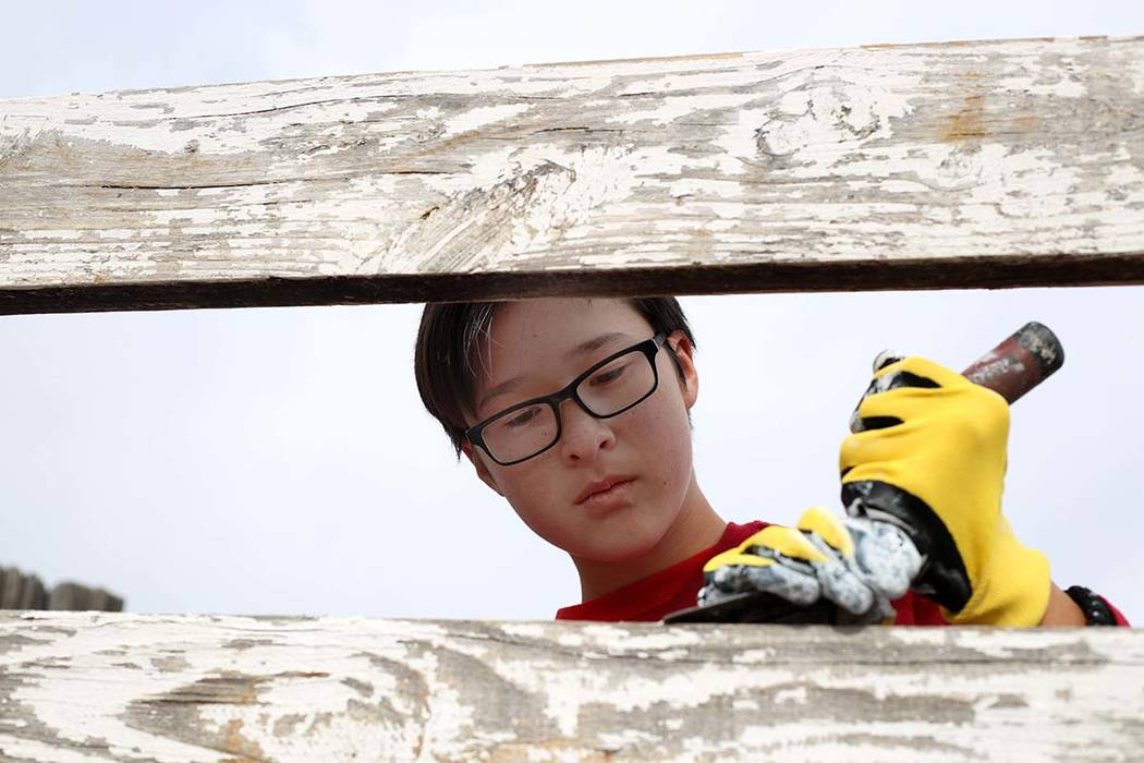 Kazma Leavold, 14, with Scouts BSA of Las Vegas Troop 155, paints a fence during an outreach ou ...