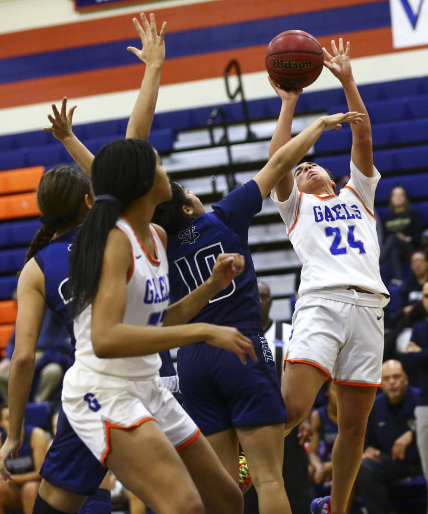 Bishop Gorman's Bentleigh Hoskins (24) shoots over Spring Valley's Riahana Davis (10) during th ...