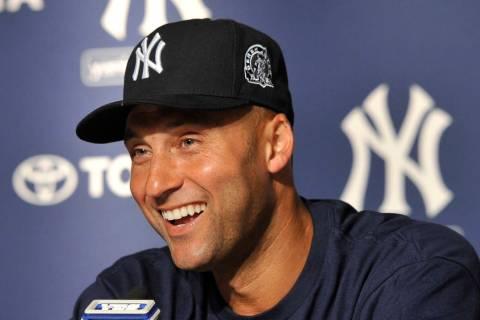 FILE - In this July 9, 2011, file photo, New York Yankees' Derek Jeter smiles as he speaks abou ...