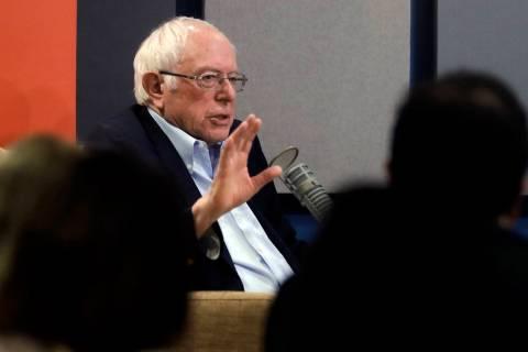 Democratic presidential candidate Sen. Bernie Sanders, I-Vt., speaks during a forum broadcast o ...