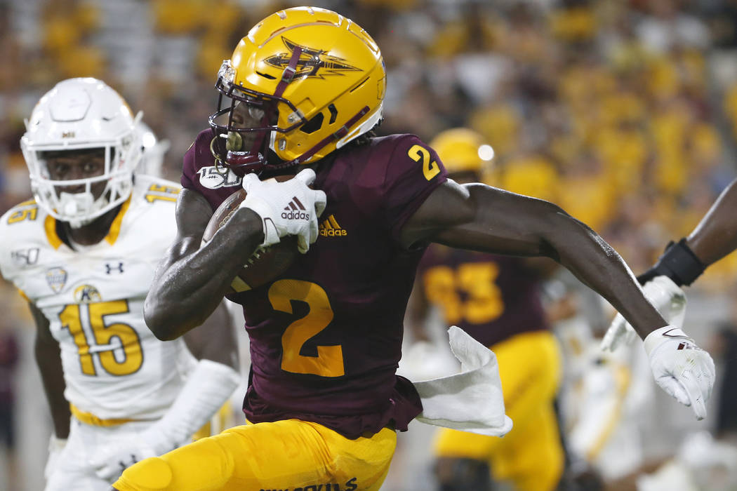 Arizona State wide receiver Brandon Aiyuk (2) runs with the ball after a reception against Kent ...