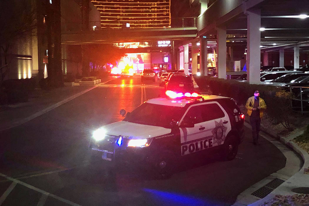 Police investigate a shooting Tuesday, Jan. 21, 2020, at Fashion Show Mall in Las Vegas. Monday ...