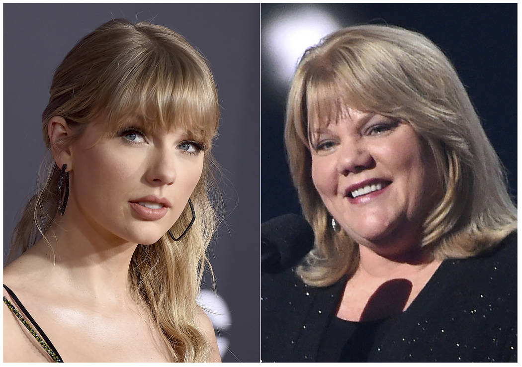 This combination photo shows Taylor Swift at the American Music Awards in Los Angeles on Nov. 2 ...