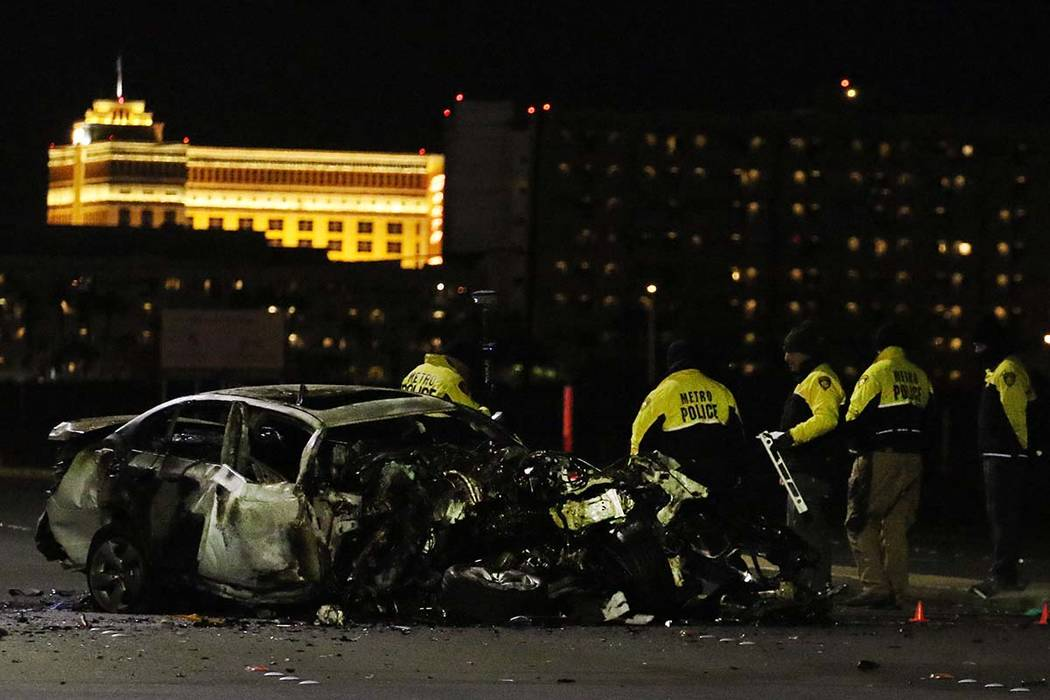 Las Vegas police investigate after one motorist was killed and another was injured in a three-v ...