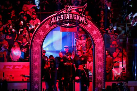 The runway to the Team Toews locker room is lit for pre-game introductions before the NHL All-S ...