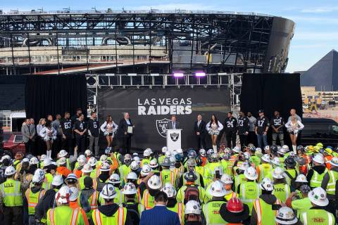 Raiders owner Mark Davis speaks during a special announcement at the Allegiant Stadium in Las V ...