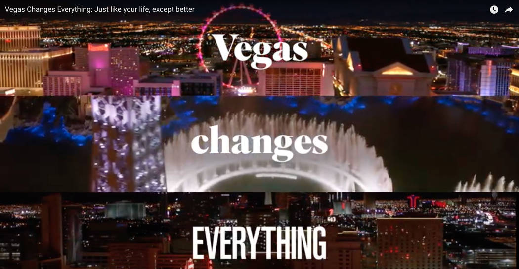 This is a screen shot from one of two video commercials to promote summer travel to Las Vegas r ...