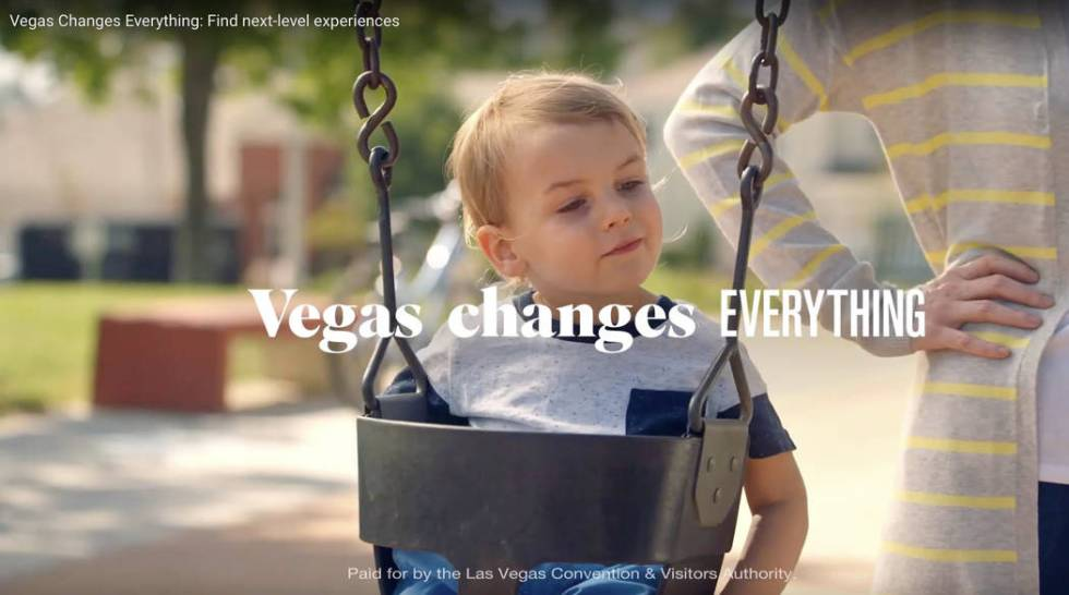 This is a screen shot from one of two new video commercials to promote summer travel to Las Veg ...
