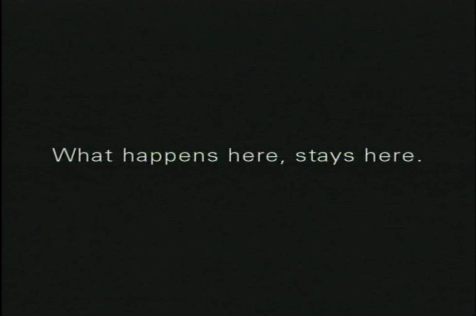 """A screen shot from the 2003 """"What happens here, stays here campaign."""" (R&R Partners)"""