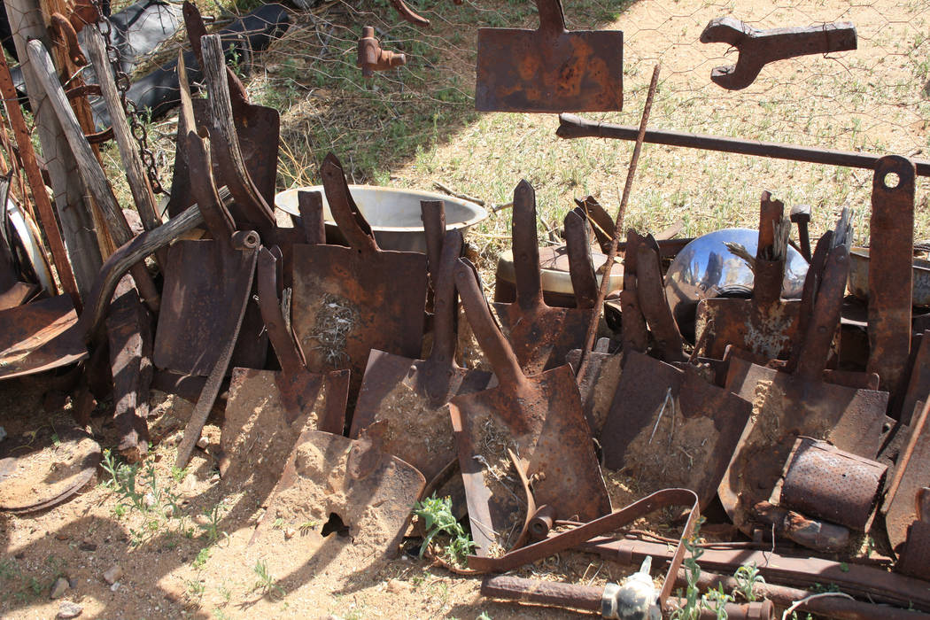 Vulcan City Ghost Town is full of mining artifacts including this display of shovels from days ...
