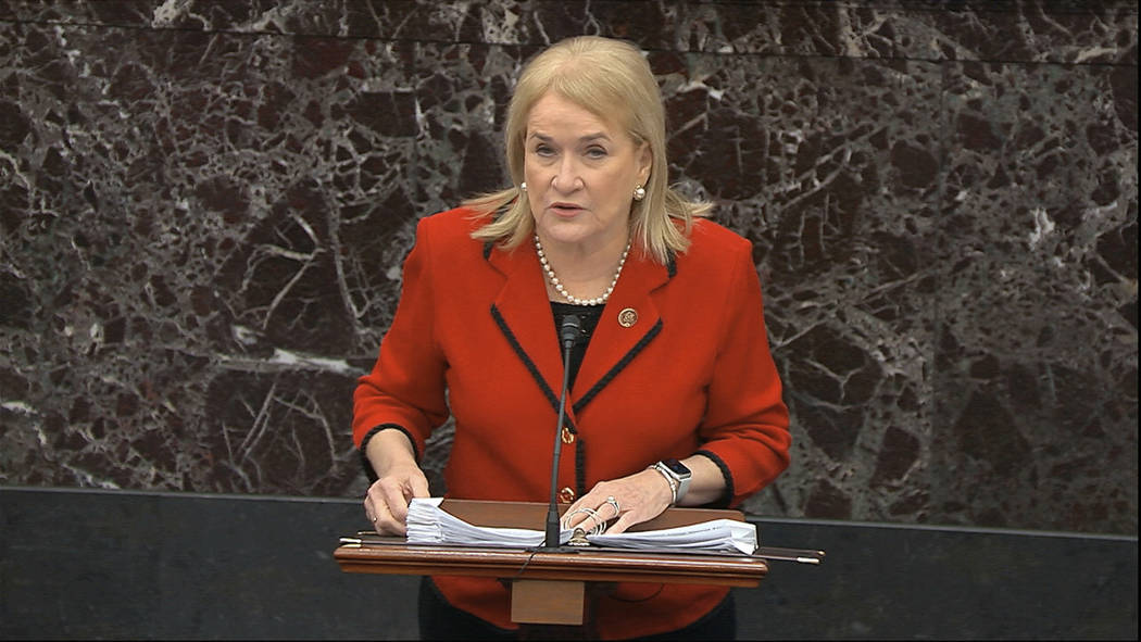 In this image from video, House impeachment manager Rep. Sylvia Garcia, D-Texas, speaks during ...
