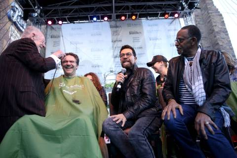 Review-Journal columnist John Katsilometes gets his head shaved by former Las Vegas Mayor Oscar ...