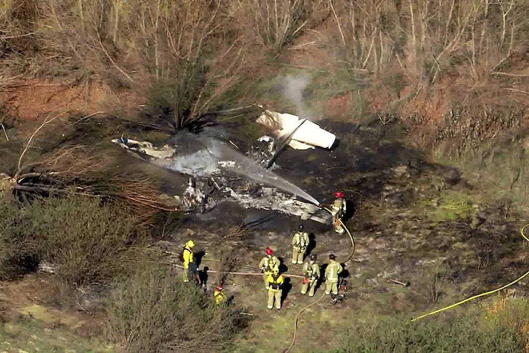 This photo taken from video provided by KTLA-TV shows the wreckage of a small plane after it cr ...