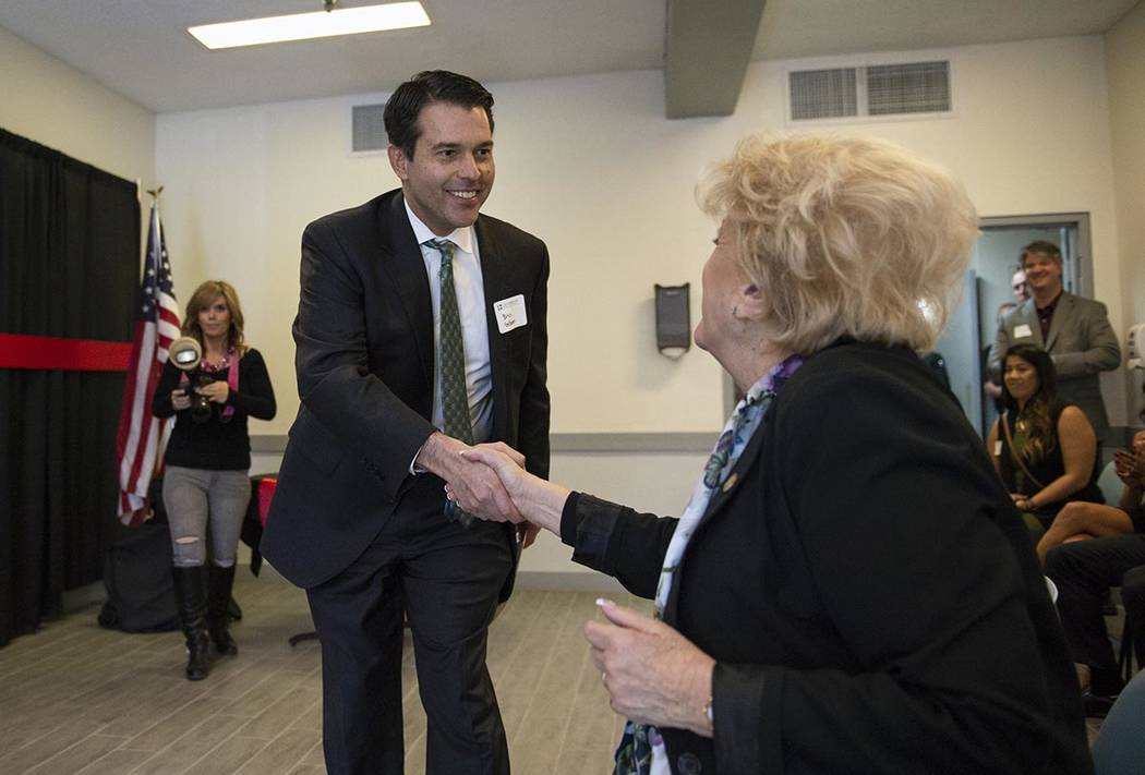In a Nov. 1, 2018, file photo, Nevada Assistant Attorney General Brin Gibson shakes the hand of ...