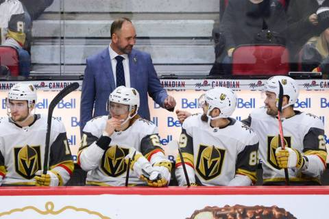 Vegas Golden Knights new head coach Peter DeBoer is seen on the bench as they take on the Ottaw ...