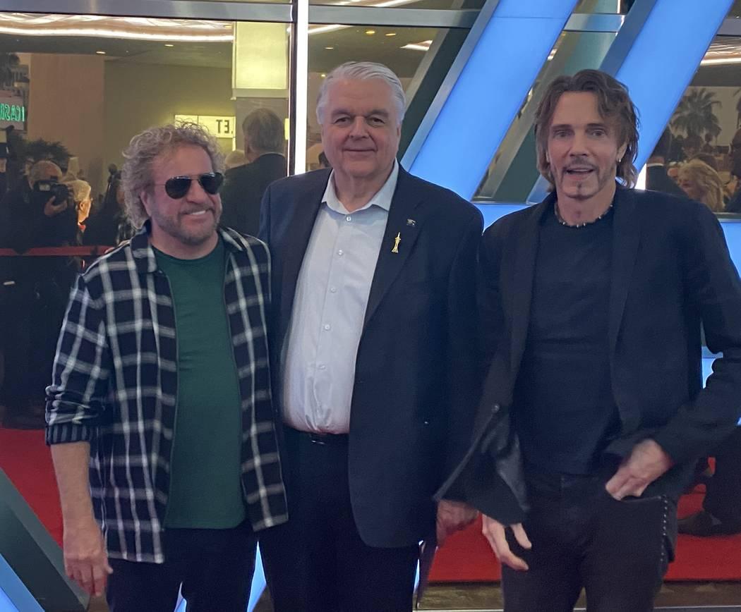 Sammy Hagar, from left, Gov. Steve Sisolak and Rick Springfield attend the ribbon-cutting cerem ...