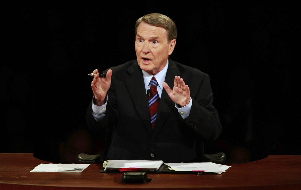 FILE - This Sept. 26, 2008 file photo shows debate moderator Jim Lehrer during the first U.S. P ...