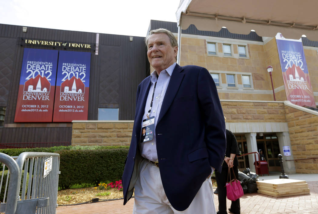 FILE - This Oct. 1, 2012 file photo shows moderator Jim Lehrer outside Magness Arena, site of a ...