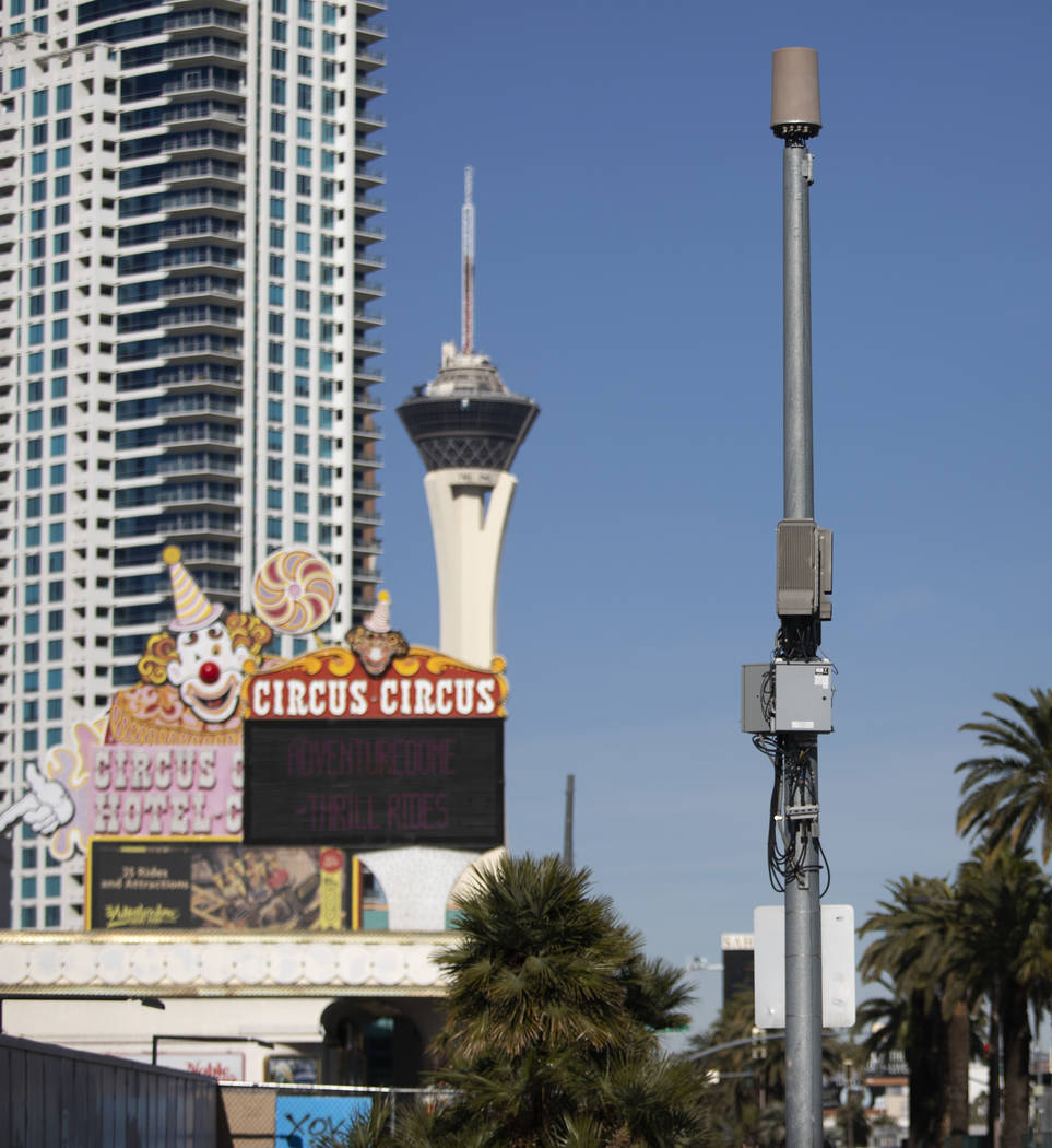 A small cell site is installed on a pole on Las Vegas Boulevard, south of Sahara Avenue, on Fri ...