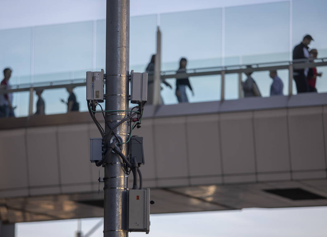 A small cell site is installed on a telephone pole on Sands Avenue on Friday, Jan. 31, 2020, in ...