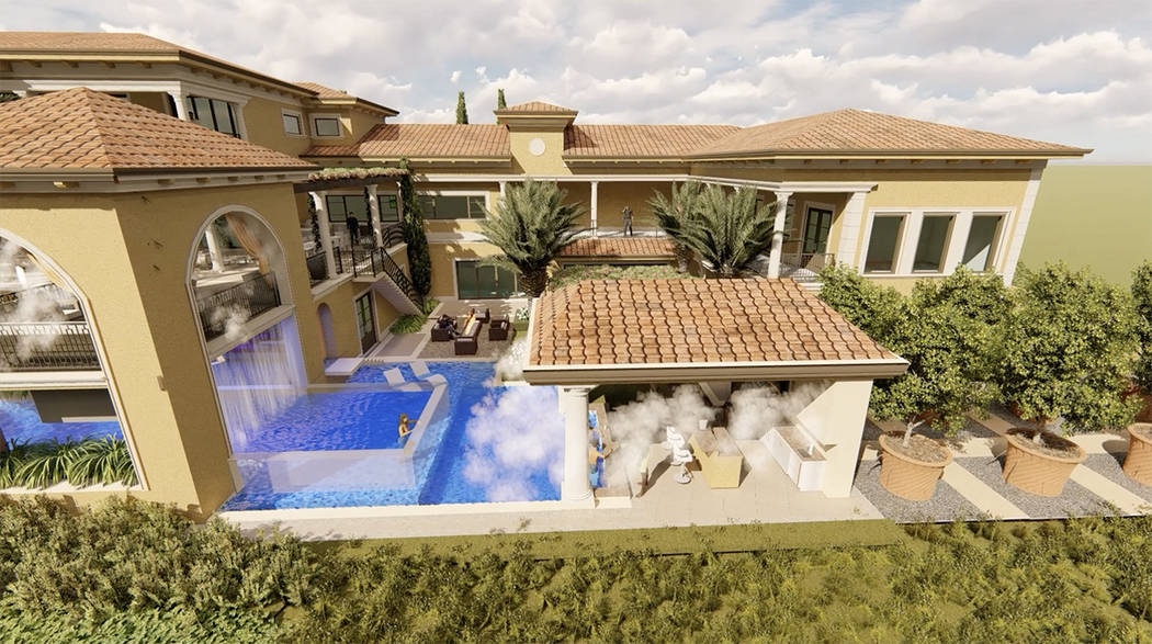 The pool area and spa area has a walk-thru garden. (Luxurious Real Estate)