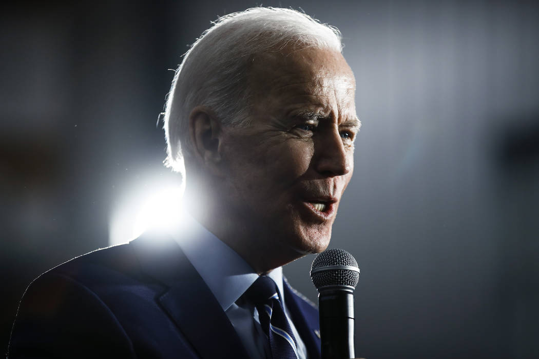 Democratic presidential candidate former Vice President Joe Biden speaks during a campaign even ...