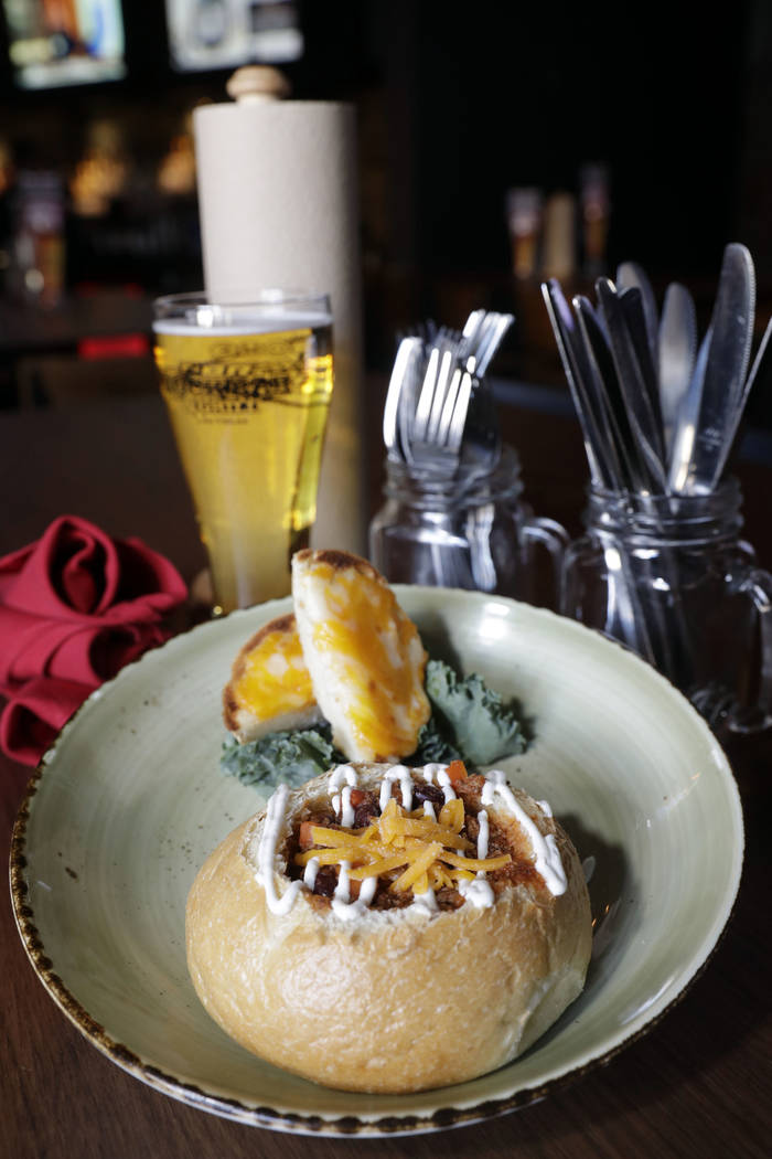 Slow-cooked chili in a bread bowl at PBR Rock Bar. (PBR Rock Bar)
