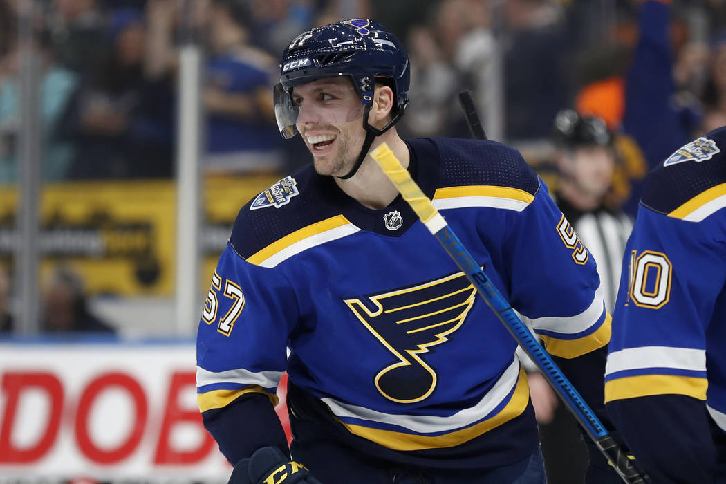 St. Louis Blues' David Perron celebrates after scoring during the second period of an NHL hocke ...