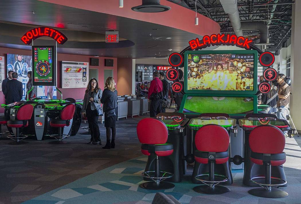 A lab that is meant to produce new concepts for the gaming market is toured at the new Harry Re ...