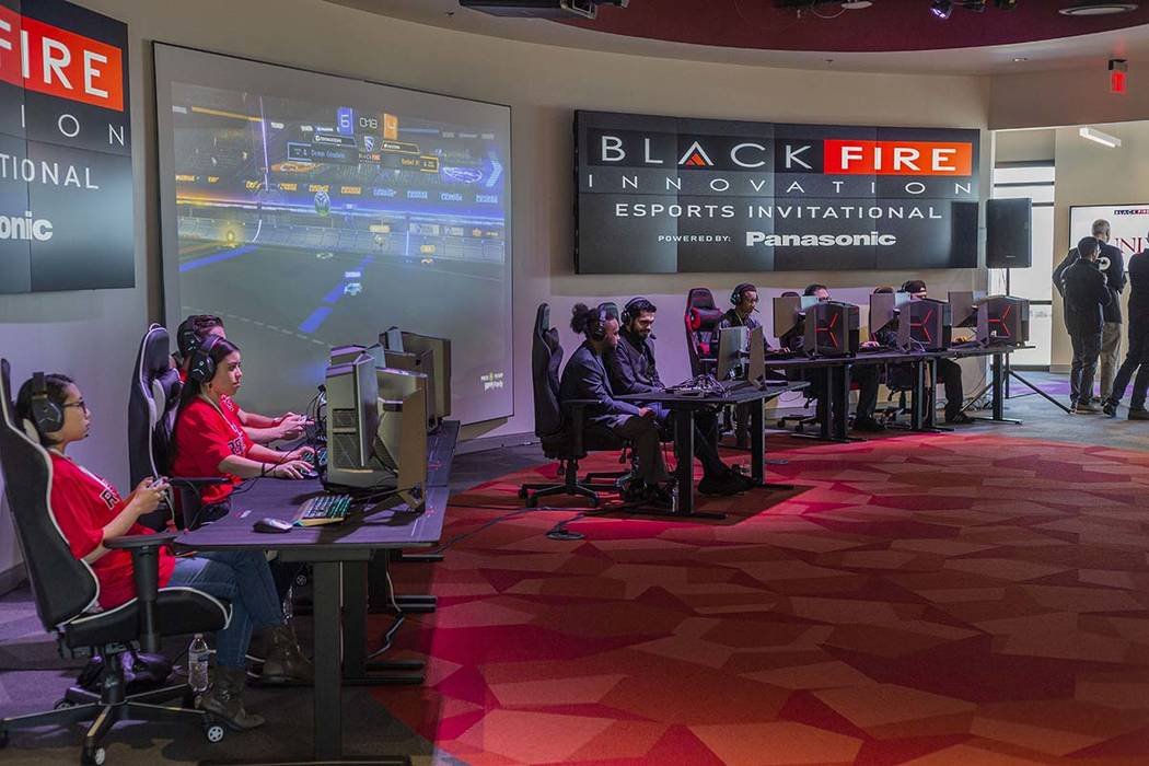 UNLV gaming participants compete in an exhibition match at the esports arena in the new Harry R ...