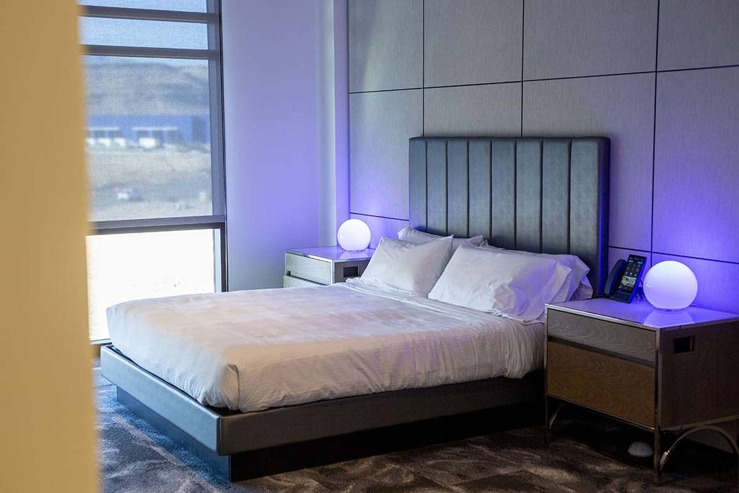 A mock hotel room is seen with internet-of-things technology at the Harry Reid Research and Tec ...