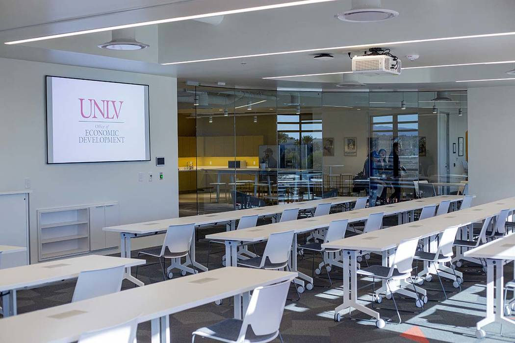 A UNLV classroom is prepped for incoming students at the new Harry Reid Research and Technology ...