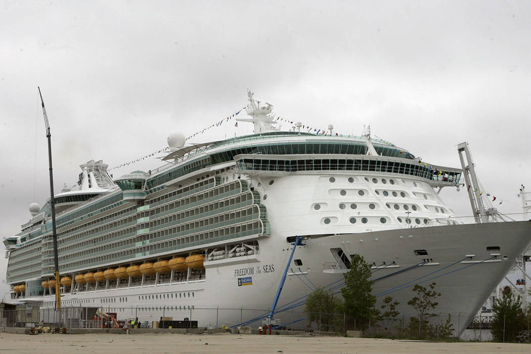 FILE - This May 11, 2006 file photo shows the Freedom of the Seas cruise ship docked in Bayonne ...
