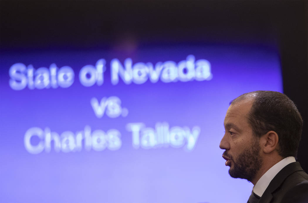 Chief Deputy District Attorney Christopher Hamner speaks during Charles Talley Jr.'s trial at t ...