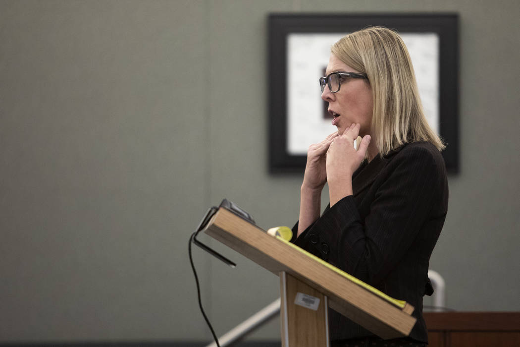 Chief Deputy District Attorney Michelle Fleck makes the closing argument in the trial of Charle ...