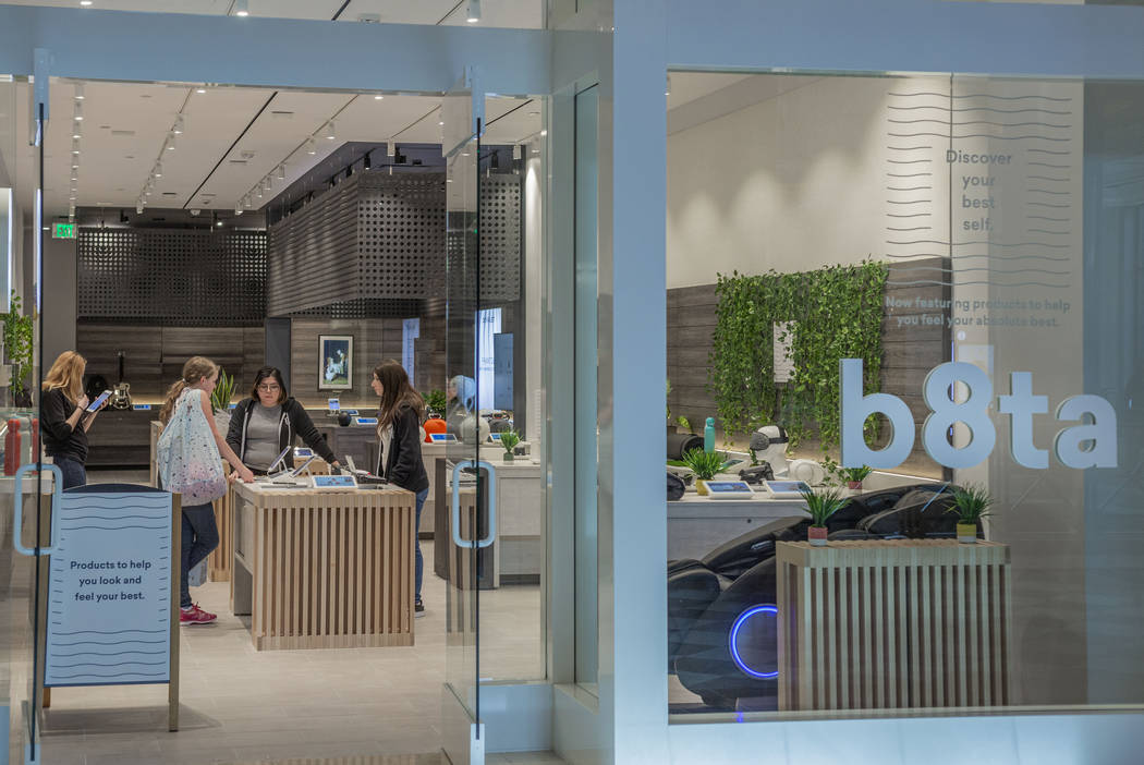 b8ta employees display new products at its new location at Forum Shops at Caesars Palace in Las ...