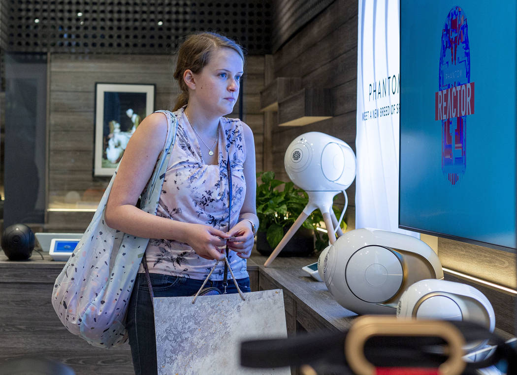 Jamie Halverson of Iowa City, Iowa, browses products at b8ta located in Forum Shops at Caesars ...