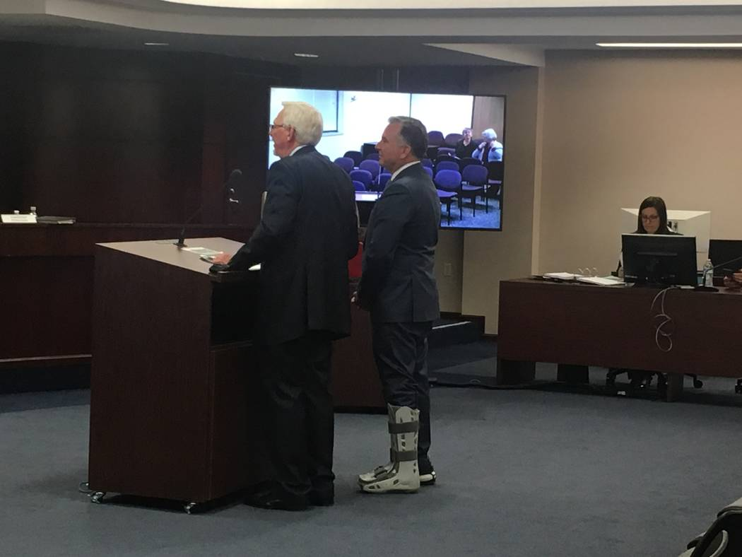 Drew Las Vegas owner Steve Witkoff, wearing a walking cast on his left leg, appears before the ...