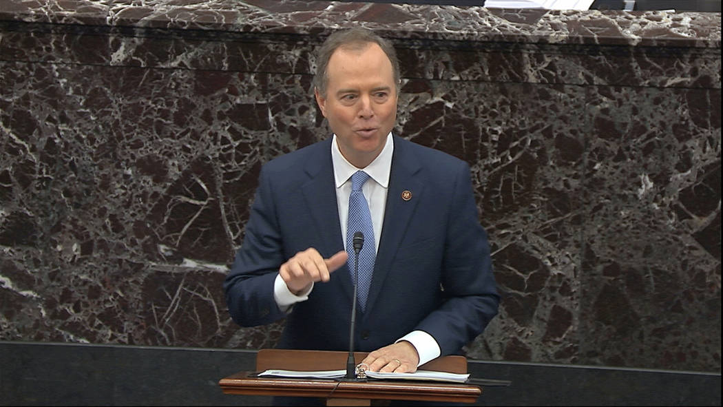 In this image from video, House impeachment manager Rep. Adam Schiff, D-Calif., speaks during t ...