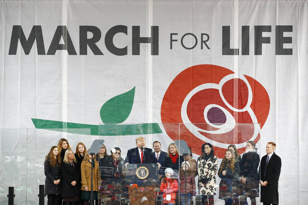 President Donald Trump speaks at a March for Life rally, Friday, Jan. 24, 2020, on the National ...