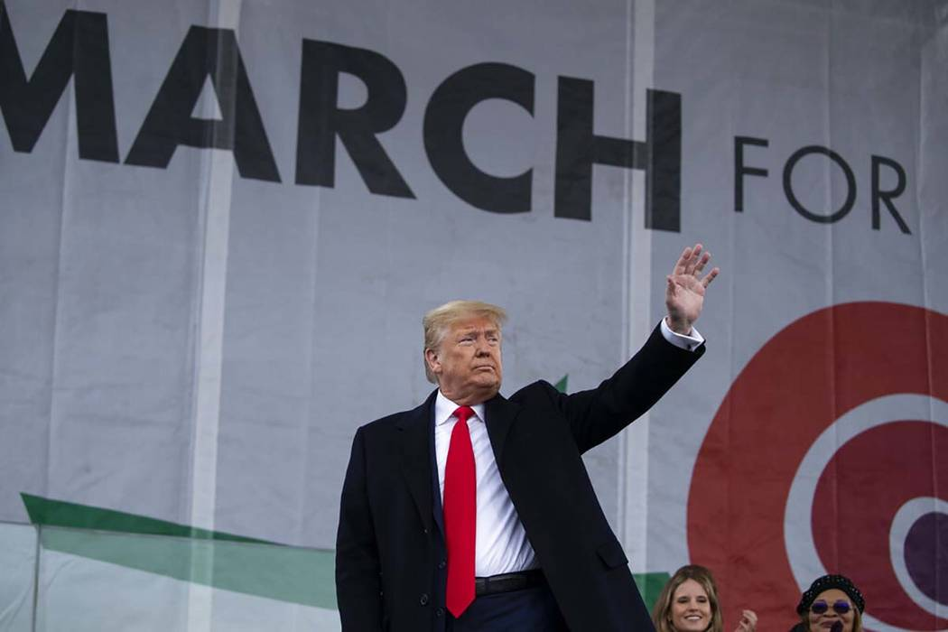 """President Donald Trump waves after speaking during the annual """"March for Life"""" rally ..."""