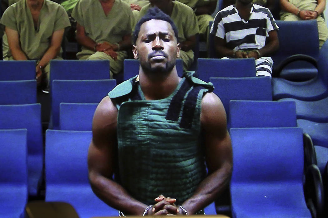 NFL free agent Antonio Brown appears at the Broward County Courthouse in Fort Lauderdale, Fla., ...