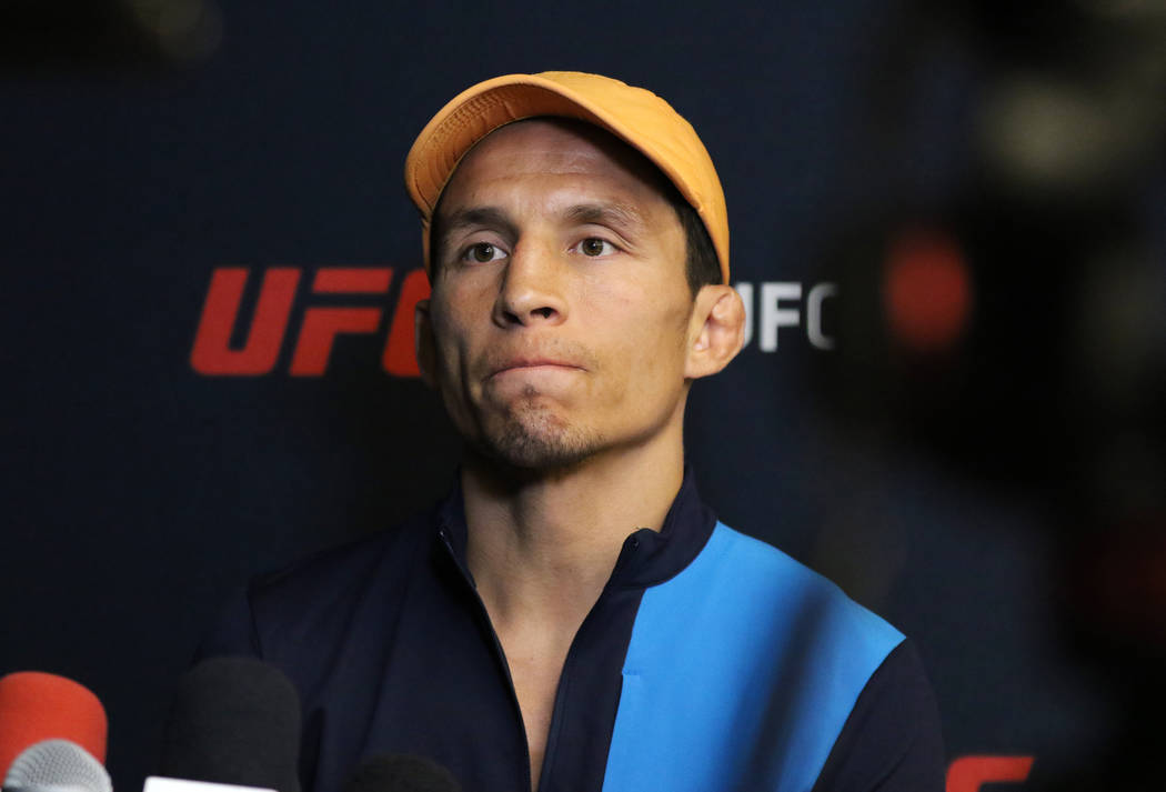 UFC flyweight Joseph Benavidez takes questions during a media scrum at the UFC Performance Inst ...